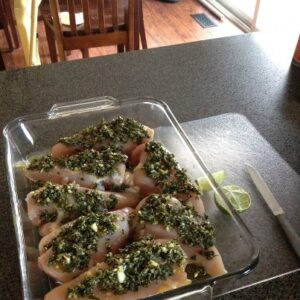 chicken with lime and pesto