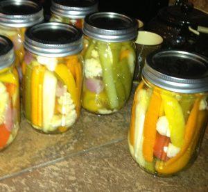 hot veggie pickle mix processed in jars